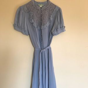 Blue silk dress with pretty lace neckline